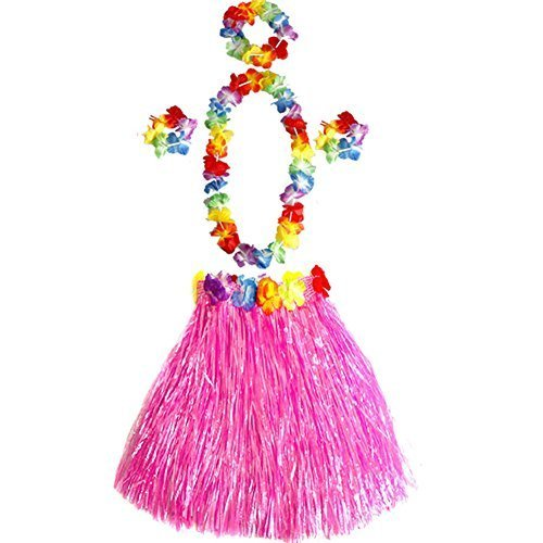 Girl's Elastic Hawaiian Hula Dancer Grass Skirt with Flower Costume Set (Hawaiian Dress Costume)