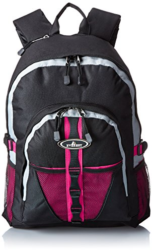 Everest Backpack with Dual Mesh Pocket, Hot Pink, One Size