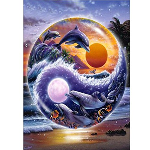 Yeefant Dolphin in the Sea Embroidery Paintings No Fading 5D Canvas Rhinestone Pasted DIY Partially Drill Diamond Cross Stitch Home Wall Decor for Bedroom Living Room,12x16 Inch