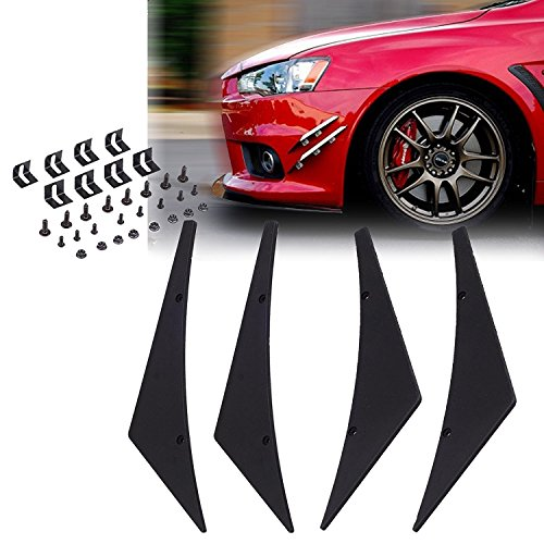 - 1 Set Black Bumper Lip Fins Canards Splitters Body Spoiler Sporty JDM Racing Style Diffuser Universal Fit