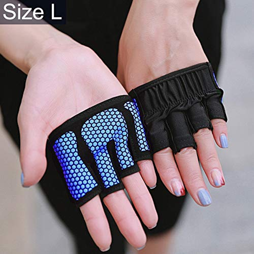 (WAN Xiang KA Outdoor Sport Accessories Half Finger Yoga Gloves Anti-Skid Sports Gym Palm Protector, Size: L, Palm Circumference: 19cm(Black) Used for Outdoor Sport (Color : Blue))