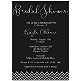 Chevron Glitter Bridal Shower Invitations, Black, Silver, Glitter, Wedding, Chevron Stripes, Bachelorette, 10 Printed Invites with White Envelopes