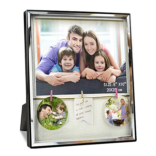 Artsay 8x10 Picture Frame with Mat Clips Family Photo Frames Shadow Box, Wall Hanging and Tabletop, Black, Glass Front