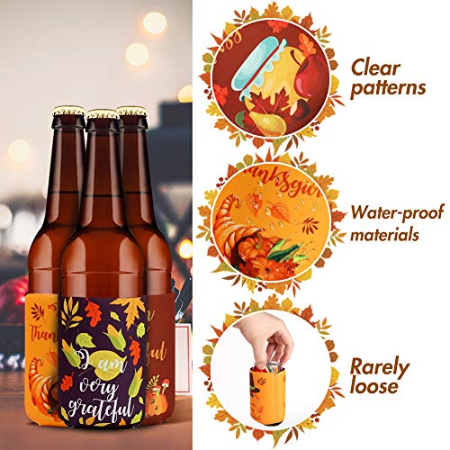 3 otters Beer Koozies, 12PCS Tropical Koozies Thanksgiving Beer Can Covers Coolers Sleeves for Fall Decor