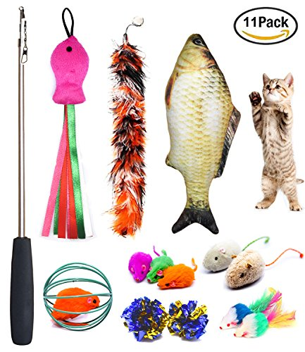 Cat Toys Set, Cat Retractable Teaser Wand, Catnip Fish, Interactive Cat Feather Toy, Mylar Crincle Balls, Two Cotton Mice, Two Fluffy Mouse, Pack of (Ball Teaser Cat Toy)
