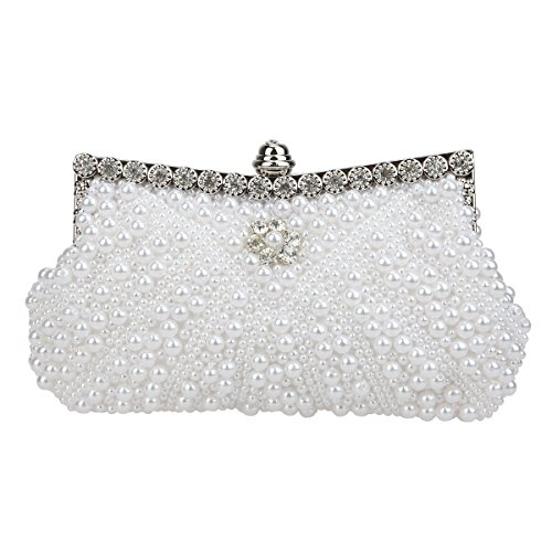 (Fawziya Pearl Clutch Purse For Wedding Beaded Crystal Handbag-ivory)