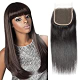 Selina 16 Inch Brazilian Straight Closure Unprocessed Human Hair Free Part Lace Closure (4x4) Natural Black Color (16'Straight, Free part)
