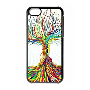 TYHde Cheap phonecase, Colorful Tree picture for black plastic iphone 5/5s case ending
