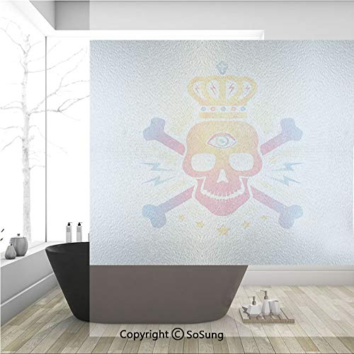 3D Decorative Privacy Window Films,Digital Print Skull with Crown and Bones Abstract Stars Ombre Design,No-Glue Self Static Cling Glass Film for Home Bedroom Bathroom Kitchen Office 36x36 Inch ()