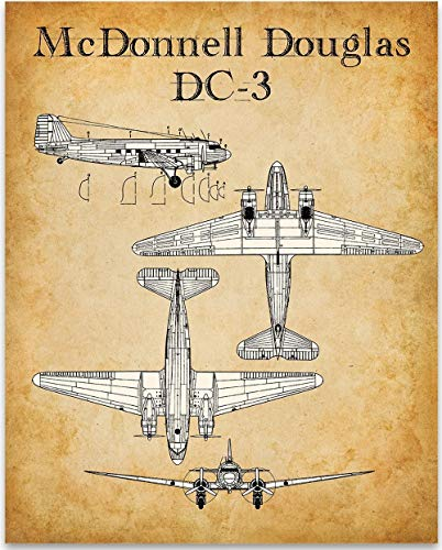 McDonnell Douglas DC-3 Aircraft Aviation Patent Print - 11x14 Unframed Patent Print - Great Gift Under $15 for Aviation Enthusiasts and Pilots