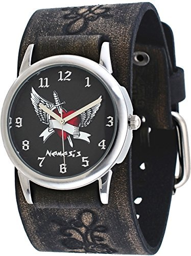 Nemesis #VFB923K Men's Arrow Thru the Heart Floral Pattern Wide Leather Cuff Band (Heart Dial Silver Cuff Watch)