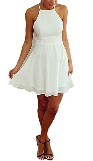 Mujer Vestidos Elegantes Cortos Verano Blancos Vestidos De Fiesta Coctel Playa Sin Mangas Halter Bandage Espalda Descubierta Una Línea Fashion Vestido ...