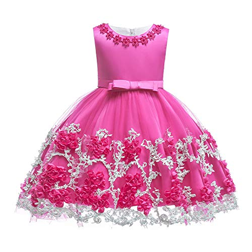 Lace Toddler Dress Christmas Children Holiday Clothes Tea Length Sleeveless Cute Dance Dresses Toddler Little Baby Girl Dress Rose 18-24 Months