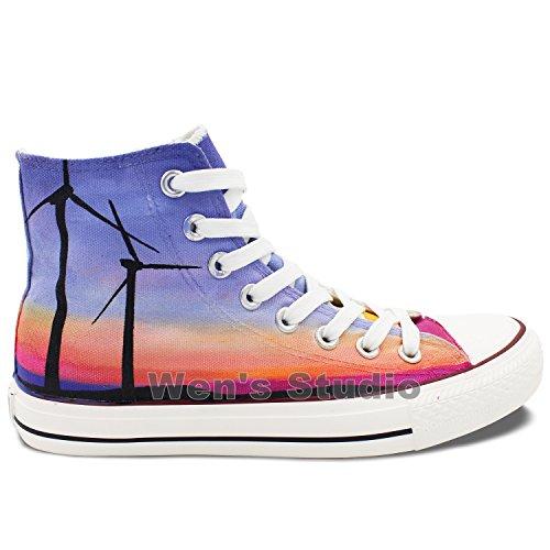 Wen Design Windmill Sunset Glow Scarpe Da Ginnastica Casual In Tela Dipinta A Mano Unisex