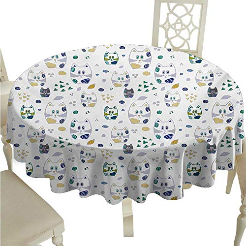 (Kids Elegant Waterproof Spillproof Polyester Fabric Table Cover Cute Childish Cat Figures Kitten with Hearts and Spiral Circles Nursery Themed Art Indoor Outdoor Camping Picnic D54