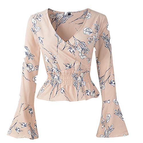 Cenglings Women's V-Neck Floral Print Bell Sleeve Blouse Wrap Front Crop Top Shirts (Print Top Glitter)