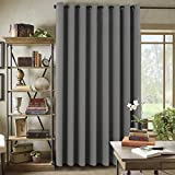 """H.Versailtex Blackout Patio Grey Curtains,Extra Long and Wide Thermal Insulated Window Panels/Premium Room Devider-100""""W by 108""""L- Frost Gray (Set of 1)"""