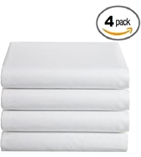 ProCare Flat Hospital Bed Sheets, White 4pk