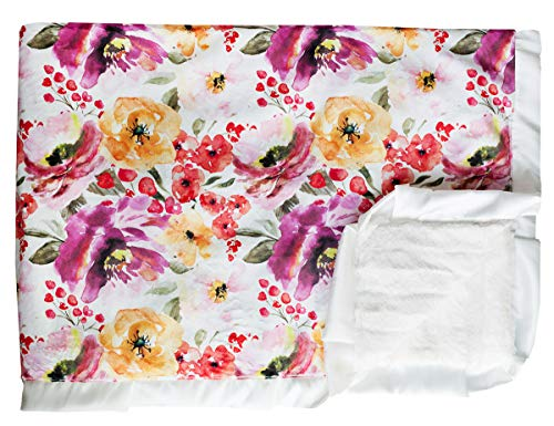 Minky Couture Printed Premium Blanket - Soft, Warm, Cozy, Comfortable, (Adult, Floral Fest - Floral Blankets Satin