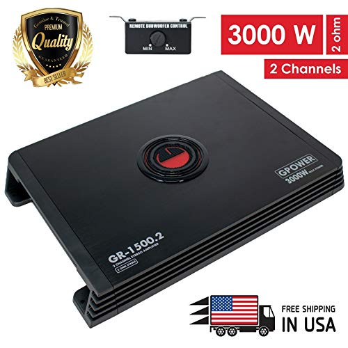 Gravity GR1500.2 2 Channel Class A/B 2 Ohm Stable 3000W Car Audio Stereo Amplifier w/LED Indicator