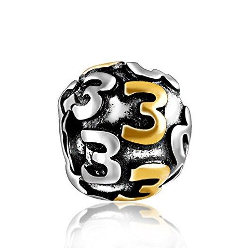 Number 3 925 Sterling Silver Charm Bead for Pandora European Charm Bracelets