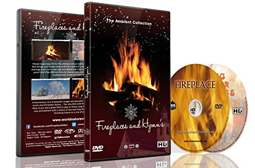 Fireplace 2 DVD Set Fireplaces with Hymns and Falling Snow for those holy days and magic moments