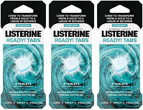 Listerine Ready! Tabs Chewable Tablets - Zero Alcohol - Sugar Free - Clean Mint - 8 Count Tablets Per Package - Pack of 3 Packages