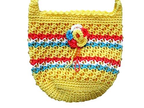 Crochet Small Bag Crossbody Purse with Zipper Travel Messenger Shoulder Bag for Women (Yellow/Blue)