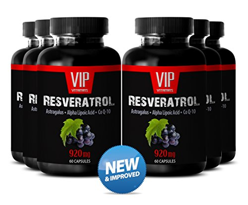 Proprietary Blend with Natural Red Wine Extract - Astragalus, Alfa Lipotic Acid and Q10 (6 Bottles 360 Capsules)