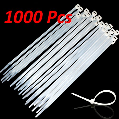 Wideskall 12'' inch White Nylon Cable Zip Ties Self Locking 5mm Tensile 50lbs.