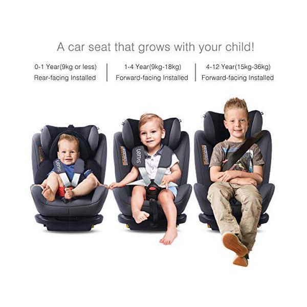 LETTAS Seggiolino auto gruppo 0+1/2/3 Fascia d'età: Bambini da 0 mesi a 12 anni - da 0 a 36 kg,reclinabile 4 posizioni… 3 spesavip
