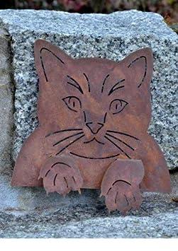 Zaunhocker Edelrost Katze mit Pfoten zum aufstecken Rost Gartendeko