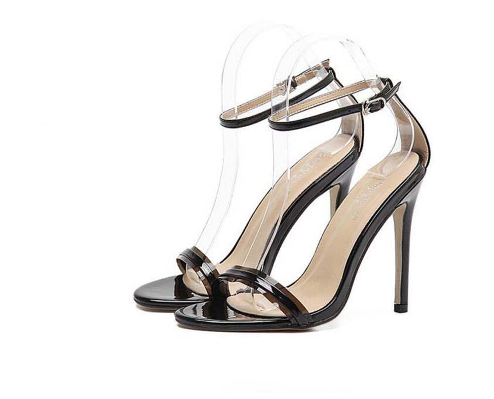 Onfly Pumps High Heels Scarpin Sandalen Dame Einfach Mode Leder Offener Zeh Fesselriemen Word Guuml;rtelschnalle Transparent Stilett Abendschuhe Eu Grouml;szlig;e 34-40  37|black