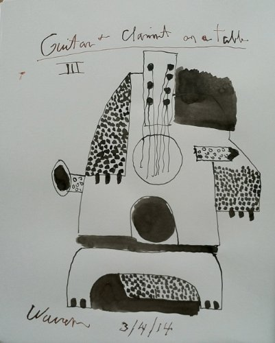 Guitar and Clarinet on a Table III by