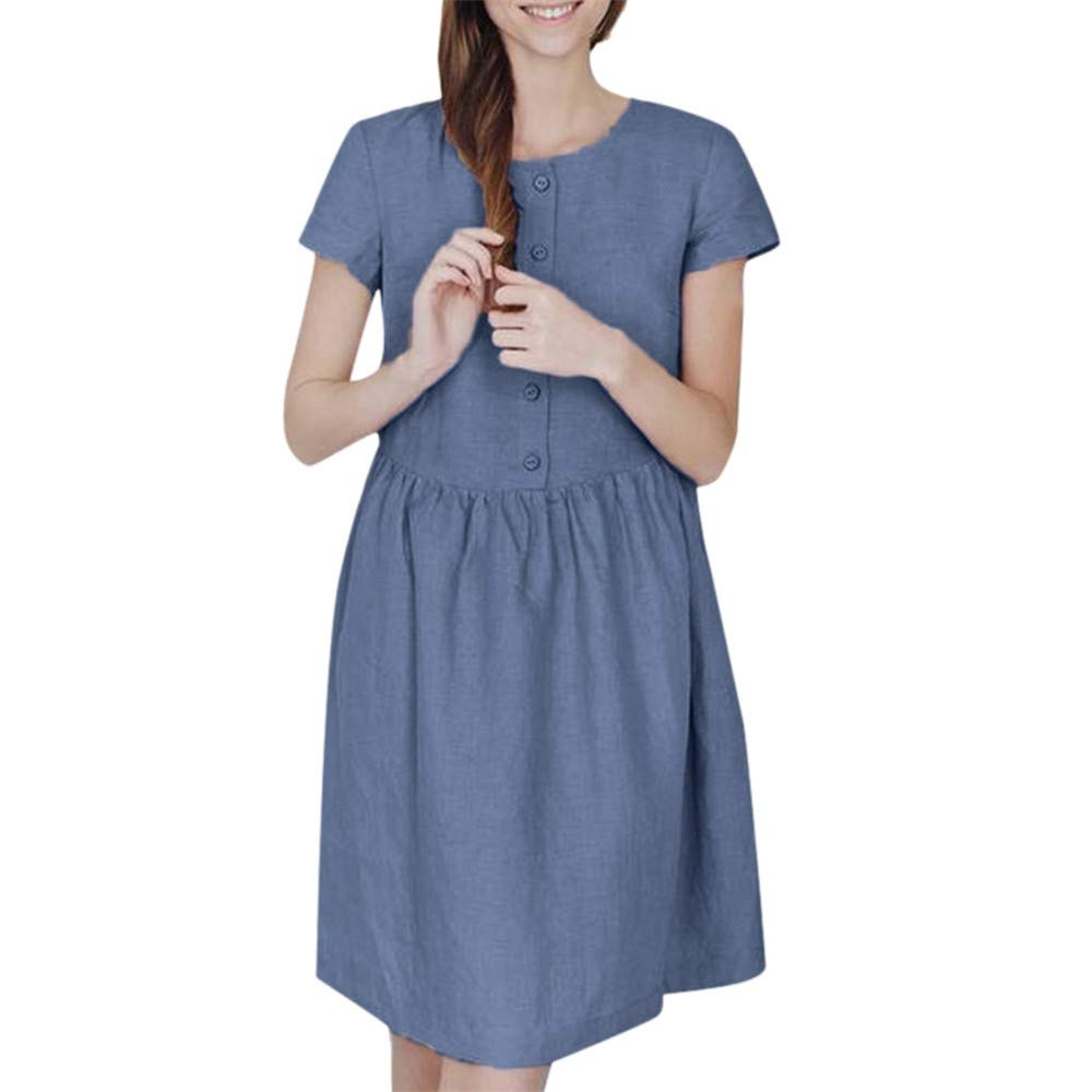 Yaseking Women's Casual Dress, Solid Color Loose Knee-Length Button Short Sleeve O Neck Ladies Dress (S, Blue)