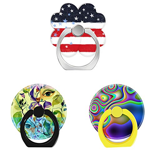 Bsxeos 360°Rotation Cell Phone Ring Holder with Car Mount Work for All Smartphones and Tablets-Fashionable Painted Eyes-Groovy Rainbow Colorful tie dye-Patriotic Grunge Stars and Stripes(3 Pack)
