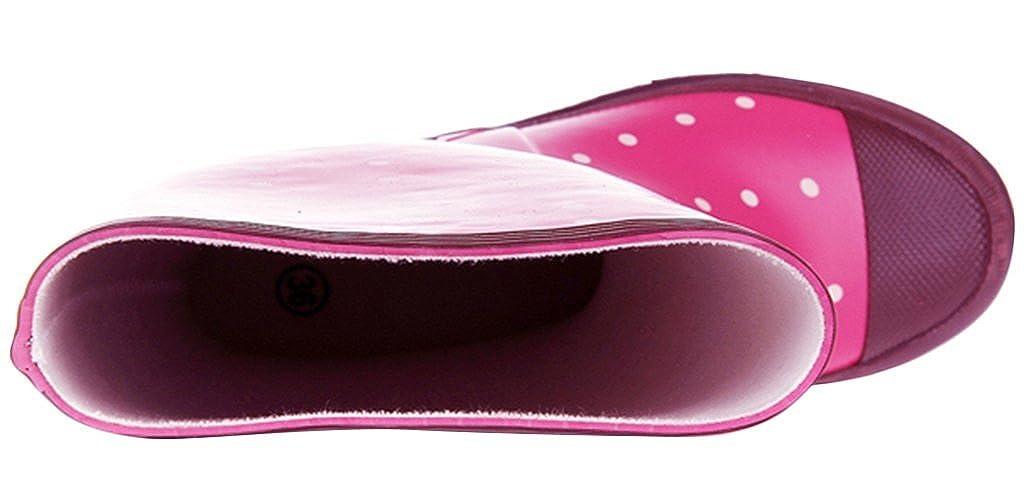 Mewow Daily Womens Cute Polka-dots Waterproof Anti-Skid Pull-on Work Boots Rain Shoes