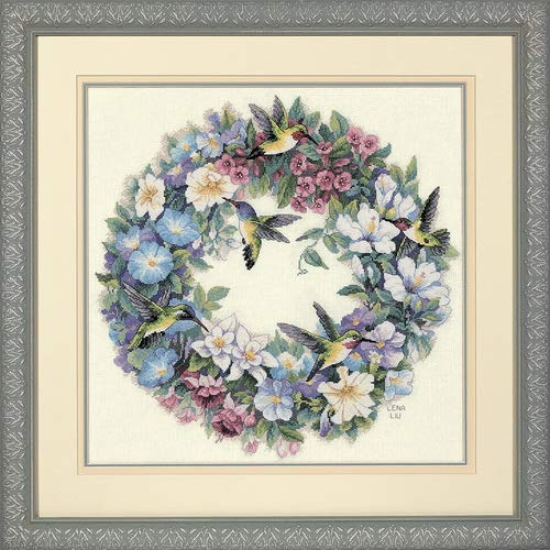 Dimensions Gold Collection Hummingbird Wreath Counted Cross Stitch Kit: 14x14