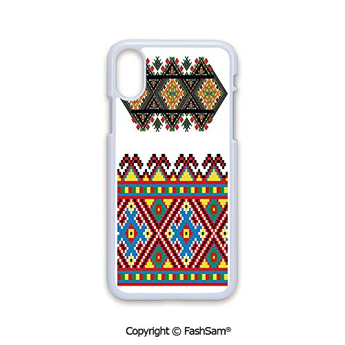 Plastic Rigid Mobile Phone case Compatible with iPhone X Black Edge Retro Ukrainian Embroidery Ornament Traditional Cultural Folk Heritage Artful Design 2D Print Hard Plastic Phone Case