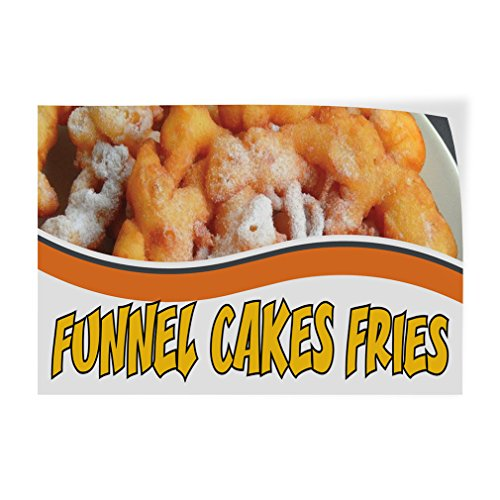 Decal Sticker Funnel Cakes Fried Food & Beverage Cakes Outdoor Store Sign Yellow (Multiple Sizes Available) - 24inx16in, Set of 2