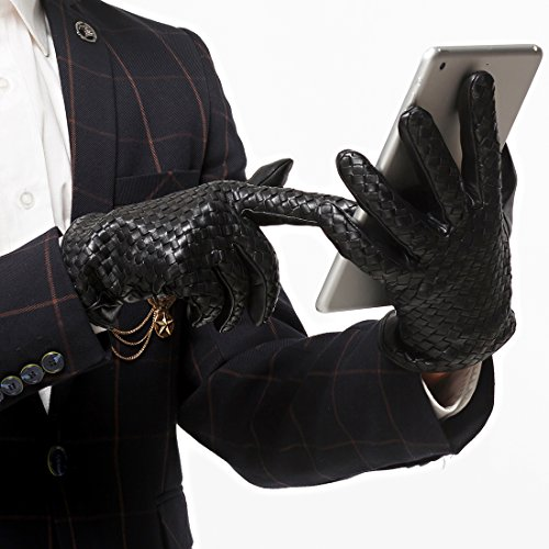 Nappaglo Men's Genuine Nappa Leather Gloves Touchscreen Hand-knitted Winter Warm Driving Cycling Mittens (XXL (Palm Girth:9.5''-10''), Black (Touchscreen)) by Nappaglo (Image #6)