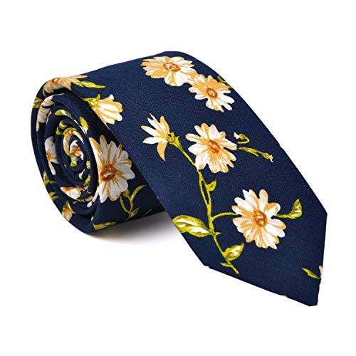 (LUISDAN Floral Wedding Tie Men's Cotton Printed Flower Neck Ties Skinny Narrow Neckties (Cosmos))