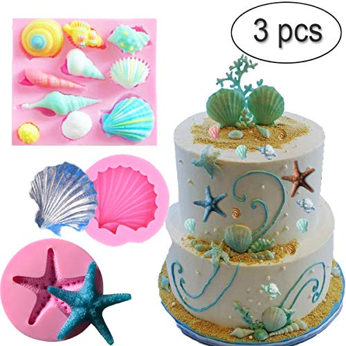 UOFEIVS Seashell Silicone Fondant Mold Sea Shells Chocolate Candy Starfish Mold For Beach Theme Wedding Birthday Party Cake Decoration Supplies (3PCS) ()