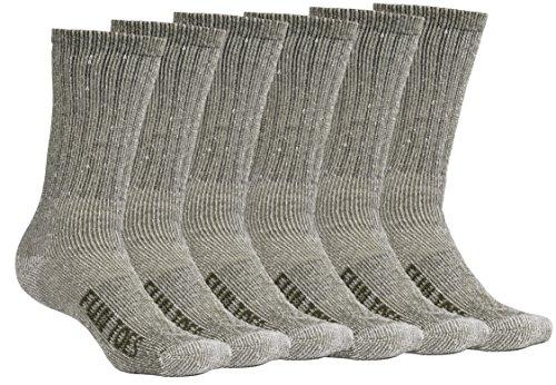FUN TOES Men's Merino Wool Socks -6 Pack Value- Lightweight,Reinforced-Size 8-12 (Green)