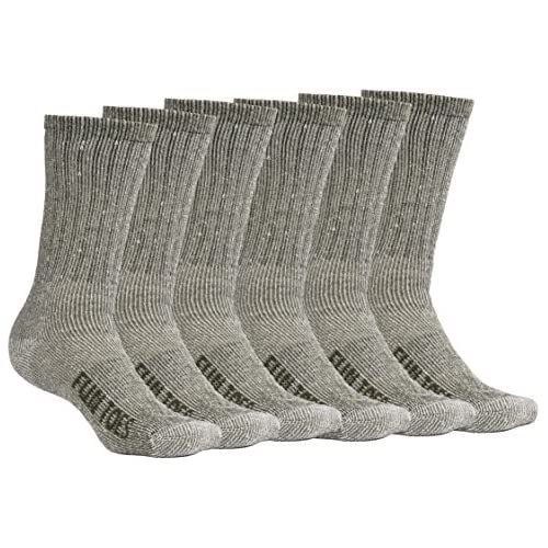 FUN TOES Men's Merino Wool Socks -6 Pack Value- Lightweight,Reinforced-Size 8-12 (Green)