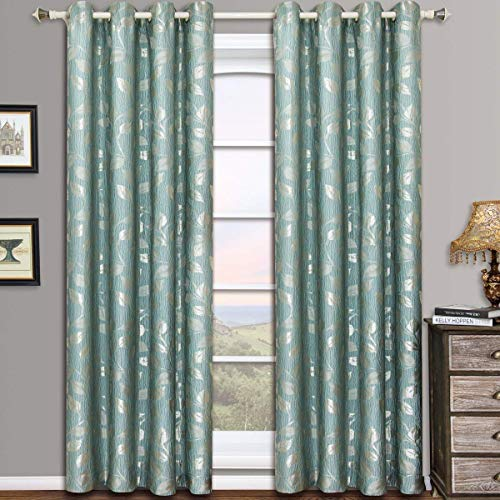 Royal Hotel Charlotte Blue/Aqua Grommet Jacquard Window Curtain Panels, Pair/Set of 2 Panels, 52x84 inches Each, by ()