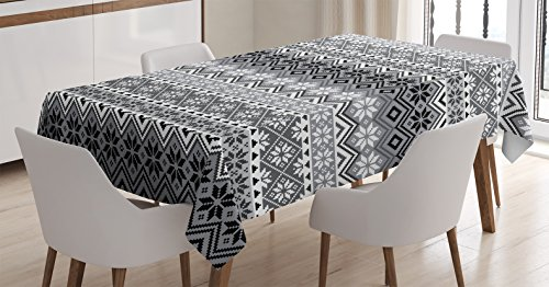 Deco Table Dining (Grey Decor Tablecloth by Ambesonne, Nordic Snowflake Knit Patterns Scandinavian Motifs Traditional Modern Print Chic Home Deco, Dining Room Kitchen Rectangular Table Cover, 60 X 90 Inches)