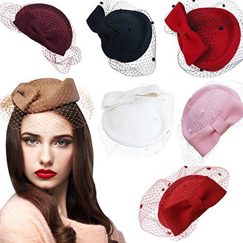 66883f8f PREV NEXT Home — Lawliet Lady Womens Dress Fascinator Wool Felt Pillbox Hat  Party Wedding Bow ...
