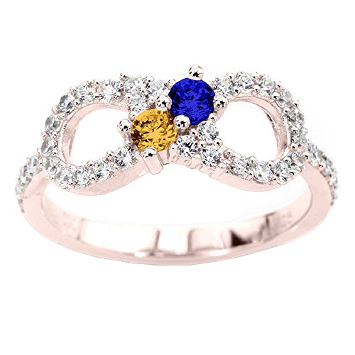 NANA Infinity Couples 2 stones Ring with His & Hers Simulated Birthstones - 10k Rose - Size 6 by NaNa