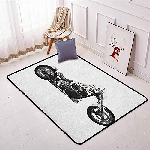 Hot Throttle Threads Bike - Manly Better Protection Motorbike Hipster Style Dangerous Risky Ride Driving Vehicle Throttle Chopper Kid Game Carpet W47.2 x L71 Inch Black White Grey